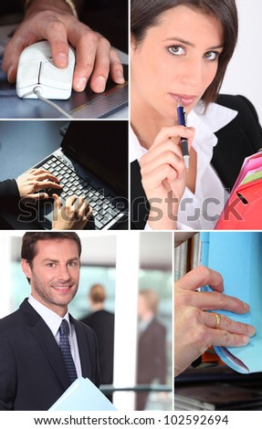 Montage of office life - stock photo