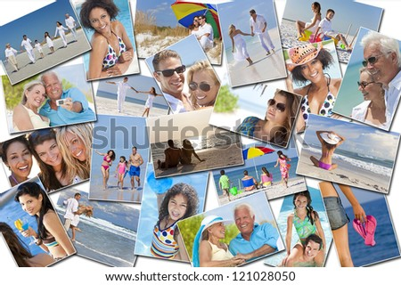 Montage of people happy men women and children families and couples having fun on a summer holiday vacation at the beach, swimming walking and relaxing - stock photo