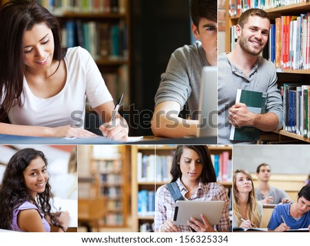 Montage of pictures showing various students with books in library - stock photo