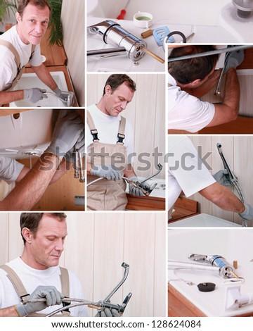 Montage of plumber repairing bathroom sink - stock photo