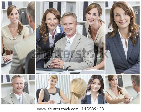 Montage of smiling happy businesswomen, businessmen, men and women in a meeting, on computer and tablet computer and shaking hands in an office - stock photo