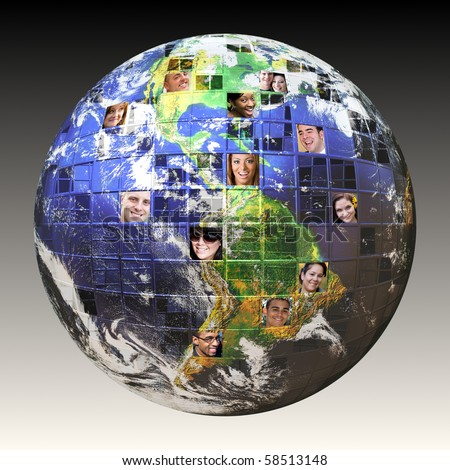 Montage of the earth with a global network of people from all walks of life on different continents.  A concept for crowd source or outsourced business. Earth photo courtesy of NASA.
