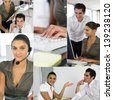 Montage of two office workers - stock photo
