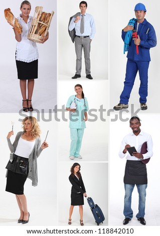 Montage of various professions - stock photo