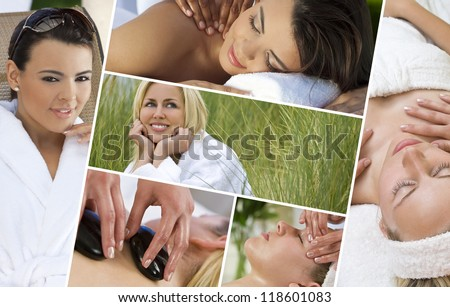 Montage of young beautiful women blond and hispanic relaxing at a health spa having massage and hot stone treatments