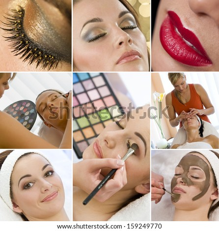Montage of young beautiful women girls, relaxing at a health spa having make up and face treatments applied.  - stock photo