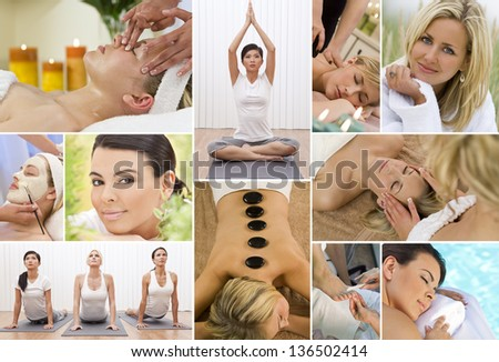 Montage of young beautiful women relaxing, having massage treatments and exercising at a health and beauty spa - stock photo
