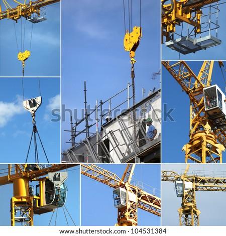Montage on crane - stock photo