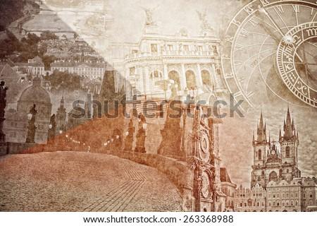montage photo of Prag on vintage paper - stock photo