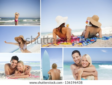 Montage with different portrait of families at beach - stock photo