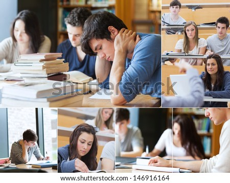 Montage with pictures of students during an exam - stock photo