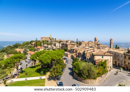 MONTALCINO, ITALY - SEP 1, 2015: Montalcino, Italy. View from the old city walls