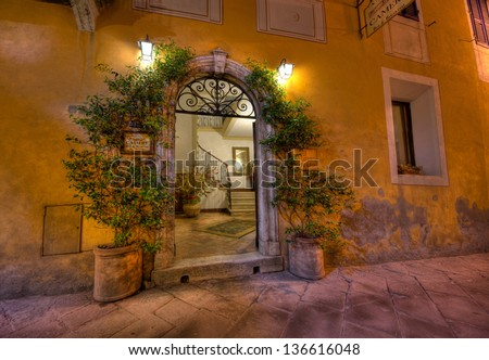 MONTALCINO of TUSCANY, MAY 17:  a view of the Camere hotel entrance