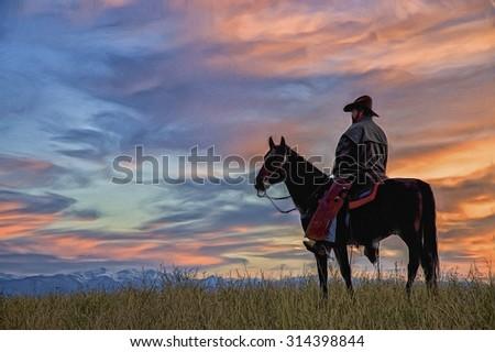 Montana cowboy at dawn,digital oil painting - stock photo