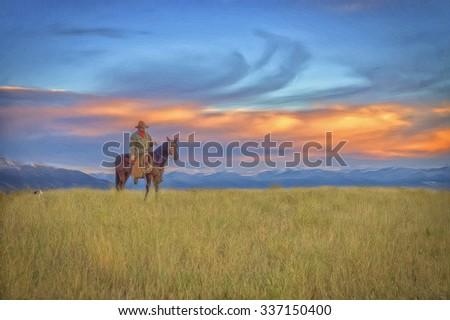 Montana cowboy on horseback riding the range with his dog,digital oil painting - stock photo