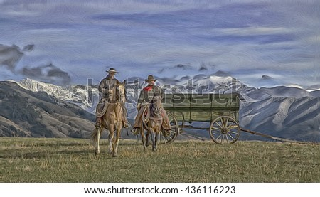 Montana cowboys on horseback,mountain background.Digital oil painting