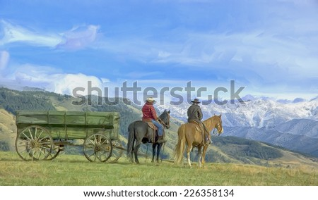 Montana cowboys on the range - stock photo
