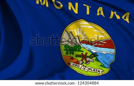 Montana flag - USA state flags collection no_3 - stock photo