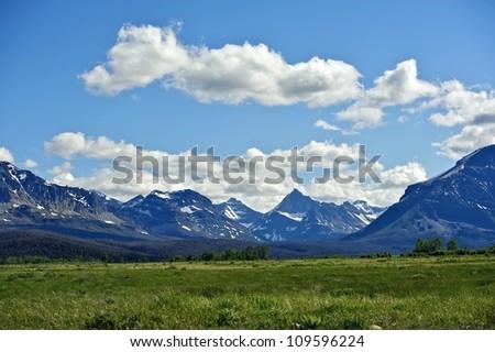 Montana\'s Rocky Mountains. Mountains Range Landscape. Montana, USA. Nature Photo Collection. - stock photo