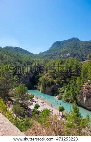 Montanejos river with thermal water (Spain)
