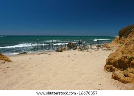 Montara State Beach is a beach located eight miles north of Half Moon Bay on State Route 1 - stock photo