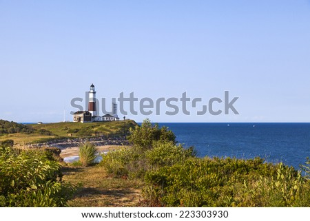 Montauk Lighthouse as seen from Camp Hero, - stock photo