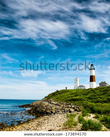 Montauk lighthouse in the summertime. Travel concept - stock photo