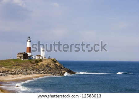 Montauk Point Lighthouse overlooks the Atlantic ocean.