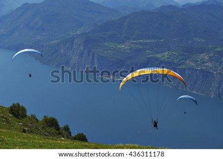MONTE BALDO,  ITALY, August 17 2014: Paragliding is a popular activity on Lake Garda. Taking off from Monte Baldo