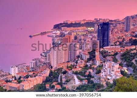 Monte Carlo and the sea at dusk, Monaco, French Riviera - stock photo