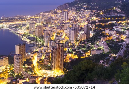 Monte Carlo city at night, Monaco view from above