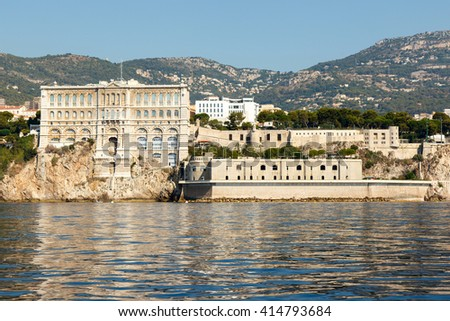 Monte Carlo harbor in Monaco as seen from the blue Mediterranean Sea. Horizontal with copy space for text  - stock photo