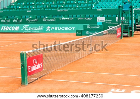 Monte Carlo, Monaco - 17 April, 2016: Clay tennis court prepared for the Monte-Carlo Rolex Masters finals. The tournament is played every year in the April-May period. - stock photo