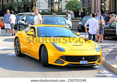 monte carlo monaco august 2 2014 yellow italian supercar ferrari f12 berlinetta - Ferrari 2014 Yellow