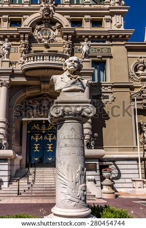 MONTE CARLO, MONACO - JULY 8, 2014: View Place du Casino. Monte Carlo Casino (architect Charles Garnier) is a gambling and entertainment complex includes a Casino and Grand Theater de Monte Carlo. - stock photo