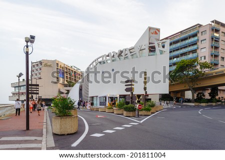 MONTE CARLO, MONACO - JUN 24, 2014:  Architecture of Monte Carlo, Monaco. Monte Carlo is host to the Formula One Monaco Grand Prix,  European Poker Tour Grand Final, UEFA Supercup and other