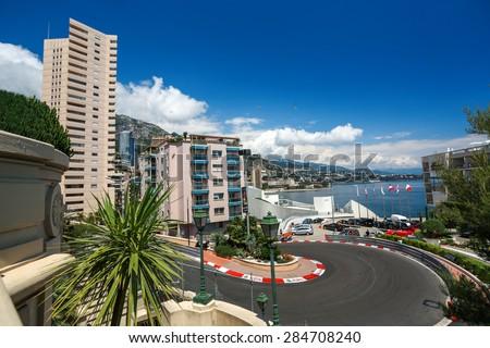 Monte Carlo, Monaco - 02 June 2014. Circuit de Monaco is a street circuit laid out on the city streets of Monte Carlo and La Condamine around the harbour of the principality of Monaco - stock photo