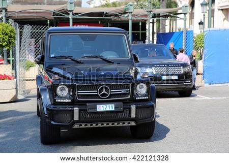 Monte-Carlo, Monaco - May 17, 2016:  Luxury Black SUV Mercedes G 63 AMG Parked in Front of the Monte-Carlo Casino in Monaco - stock photo