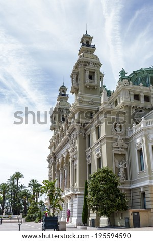 MONTE CARLO, MONACO - MAY 12, 2014: Opera house in Monte Carlo, built in 1893 by French architect Charles Garnier