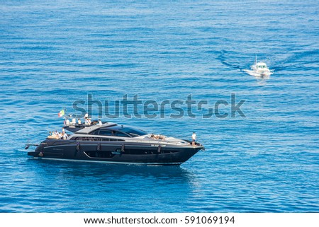 MONTE CARLO, MONACO - MAY, 2015: Yachts in the bay of Monte Carlo at sunny day