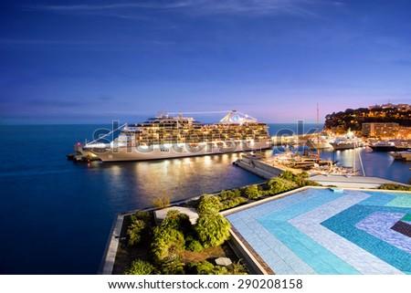 Monte Carlo, Monaco - October 07, 2014: Oceania Cruises ship Marina  docked at port of Monte Carlo, Monaco on October 07, 2014. Marina blends sophistication with a contemporary flair  - stock photo