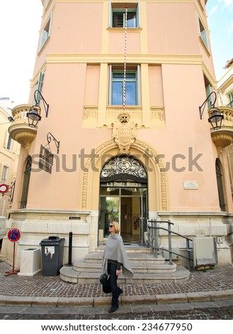 MONTE CARLO, MONACO - OCTOBER 29, 2014: The exterior of the main post office in Monte Carlo, Monaco.  - stock photo