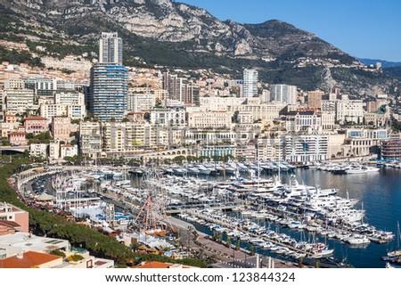 Monte Carlo skyline, French Riviera - stock photo