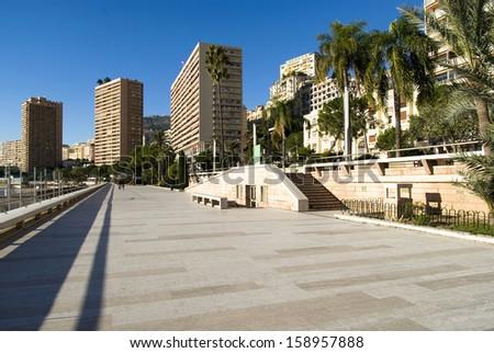 Monte Carlo: the Larvotto sea promenade - stock photo