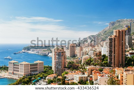 Monte Carlo top View with blue sky and sea - stock photo