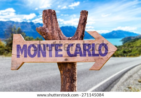 Monte Carlo wooden sign with road background - stock photo
