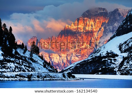 Monte Civetta in the Dolomites, Italy, Europe - stock photo