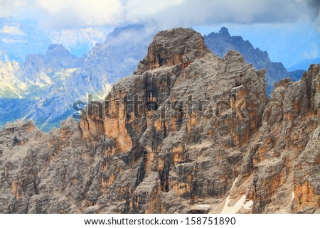 Monte Cristallo covered by gloomy clouds, Dolomite Alps, Italy - stock photo