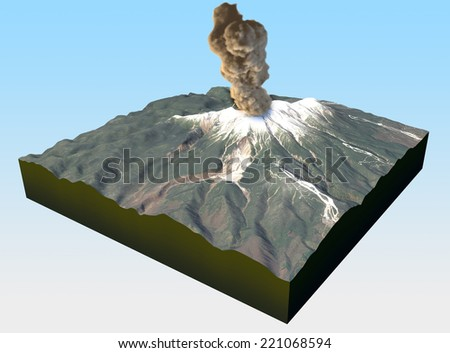 Monte Ontake, volcano, eruption, Japan, deaths. Satellite View of Mount Ontake in Japan. Element of this image is furnished by NASA.  - stock photo