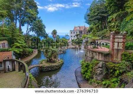 Monte Palace Tropican Garden. Funchal, Madeira island, Portugal.  - stock photo